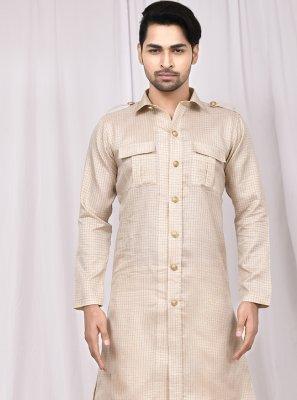 Cotton Silk Printed Dhoti Kurta in Cream