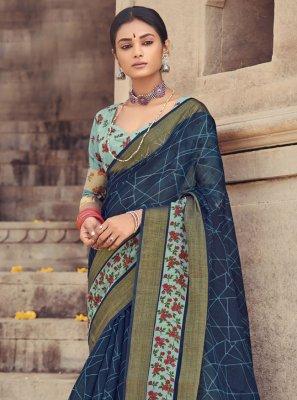 Cotton Silk Printed Navy Blue Printed Saree