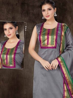 Cotton Silk Readymade Suit in Grey