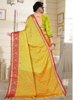 Cotton Silk Red and Yellow Fancy Designer Traditional Saree