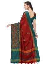 Cotton Silk Red Embroidered Designer Traditional Saree