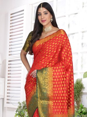 Cotton Silk Red Weaving Designer Saree