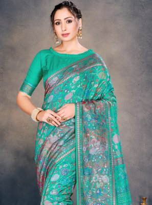 Cotton Silk Sea Green Traditional Designer Saree