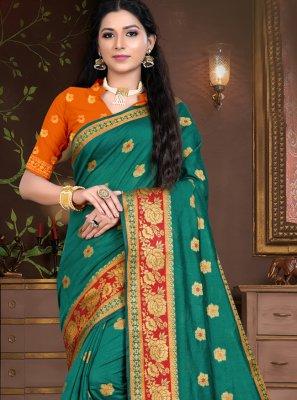 Cotton Silk Sea Green Weaving Designer Traditional Saree