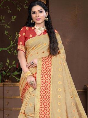 Cotton Silk Traditional Designer Saree in Beige