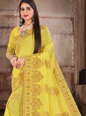 Cotton Silk Traditional Designer Saree in Yellow