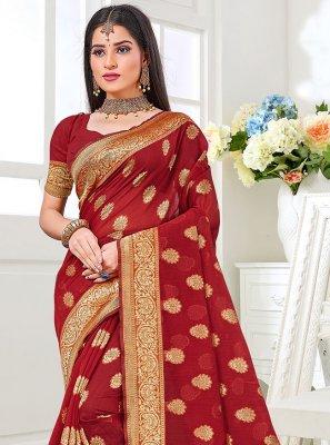 Cotton Silk Weaving Maroon Traditional Saree
