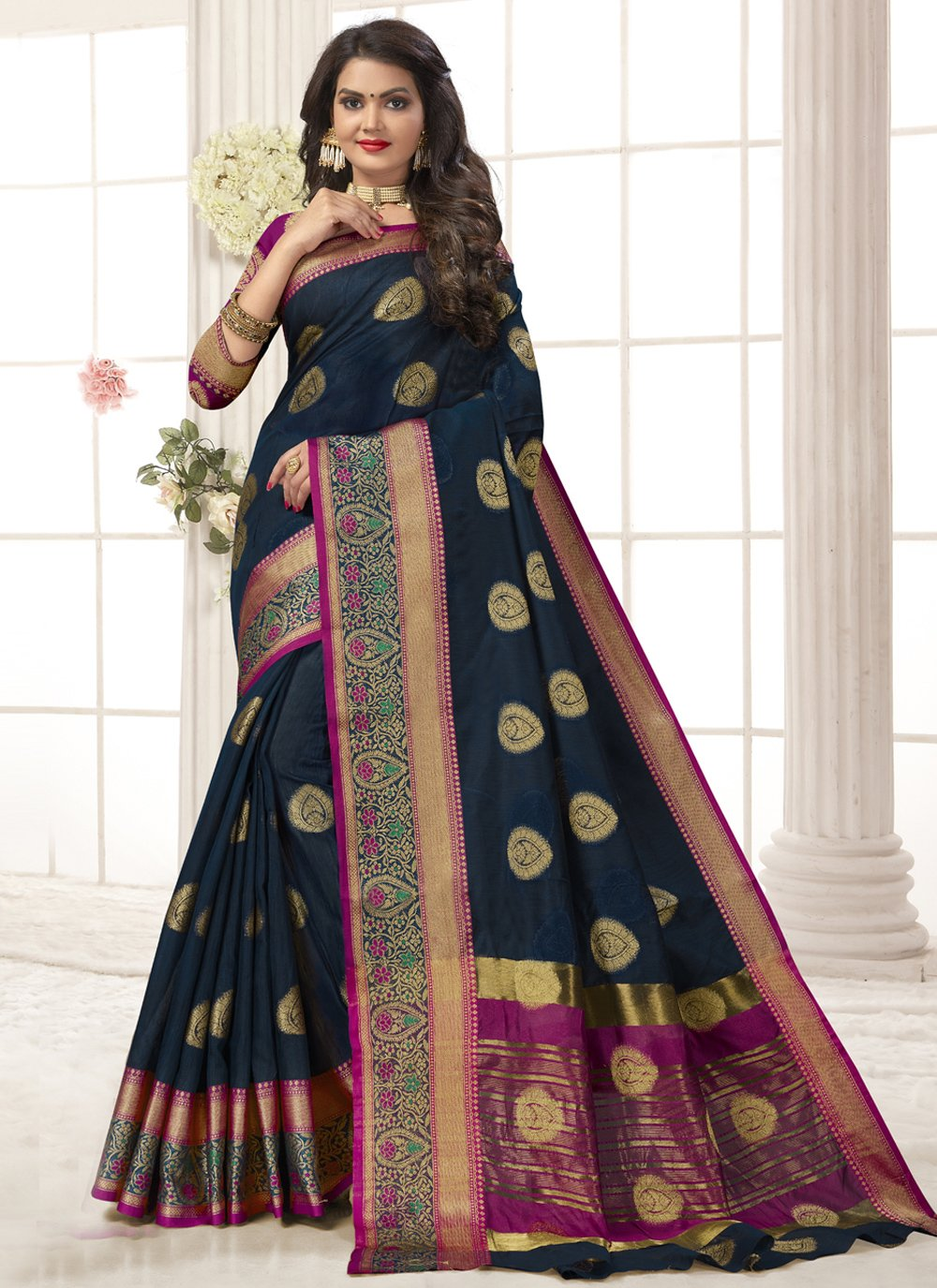 Cotton Silk Woven Designer Traditional Saree in Navy Blue