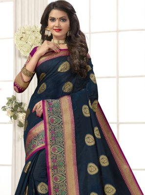 Cotton Silk Woven Designer Traditional Saree in Navy Blue