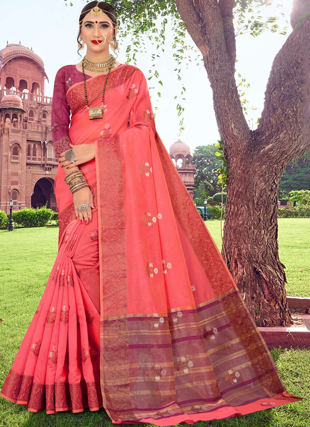 Cotton Silk Woven Pink Traditional Designer Saree