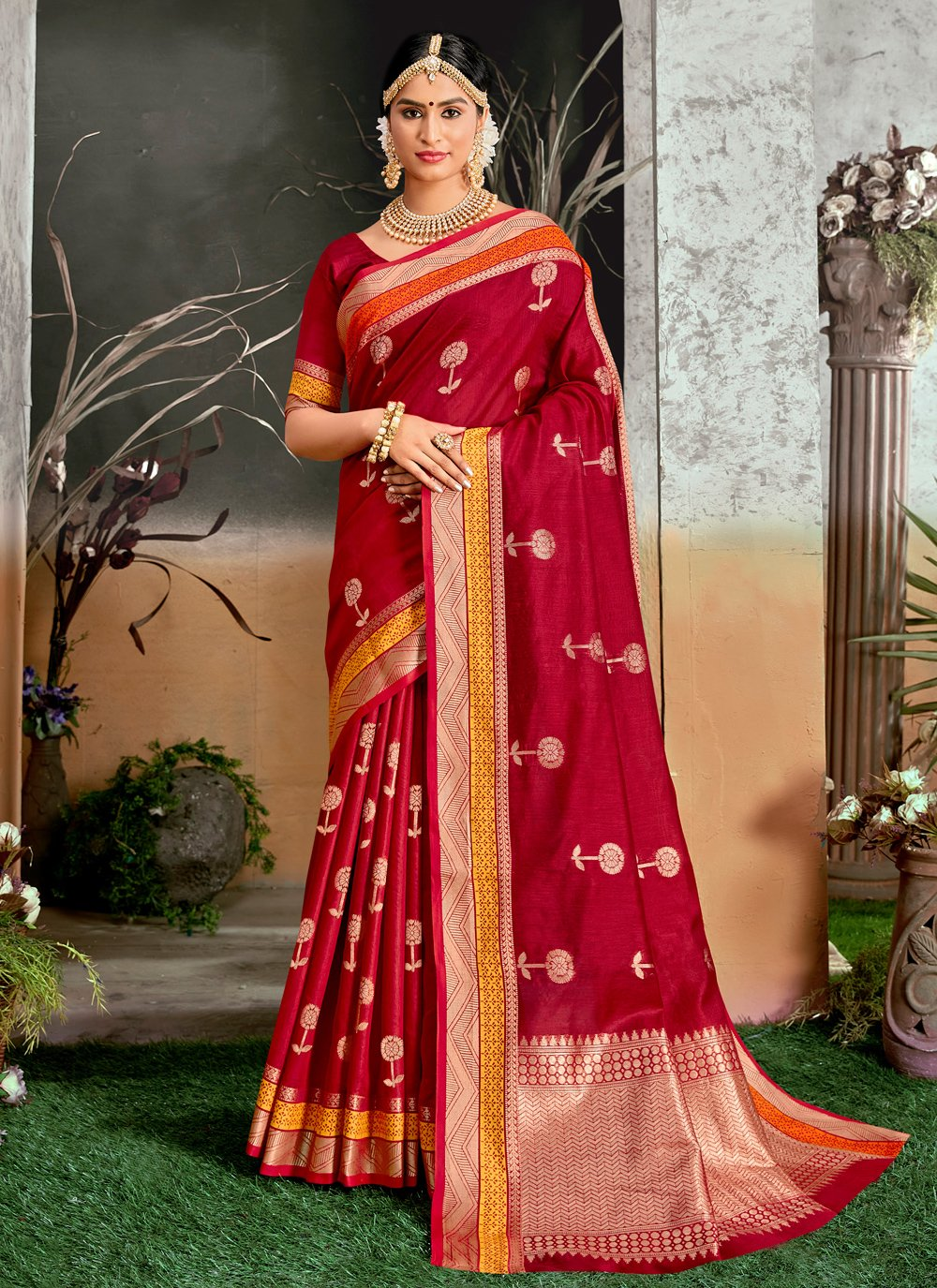 Cotton Silk Woven Traditional Designer Saree in Red