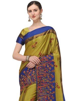 Cotton Silk Yellow Embroidered Traditional Designer Saree