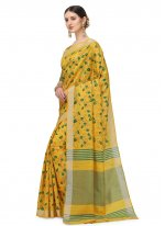 Cotton Silk Yellow Floral Print Printed Saree