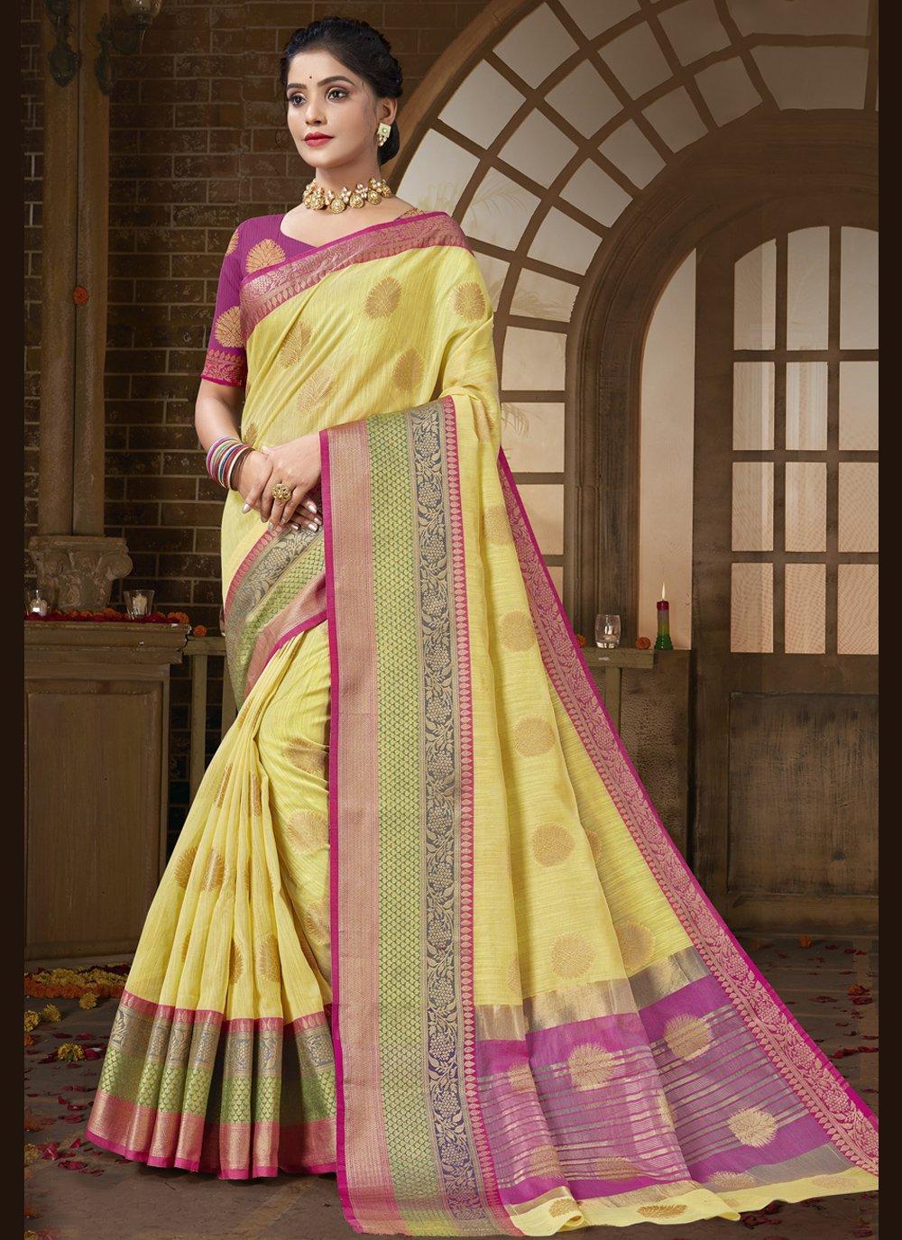 Cotton Silk Yellow Traditional Designer Saree