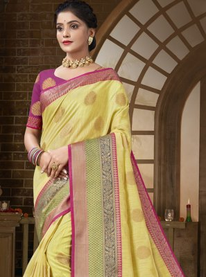 Cotton Silk Yellow Traditional Designer Saree