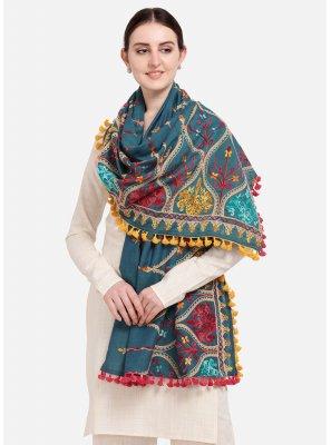 Cotton Teal Embroidered Designer Dupatta