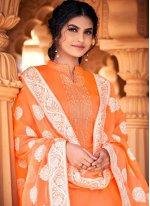 Cotton Thread Work Orange Designer Palazzo Suit