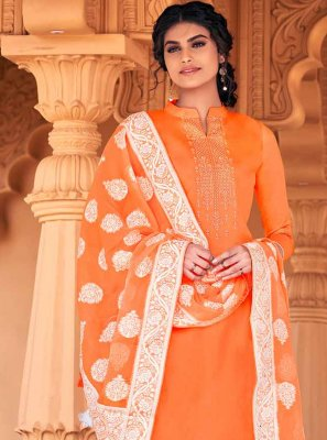 Cotton Thread Work Orange Designer Palazzo Suit