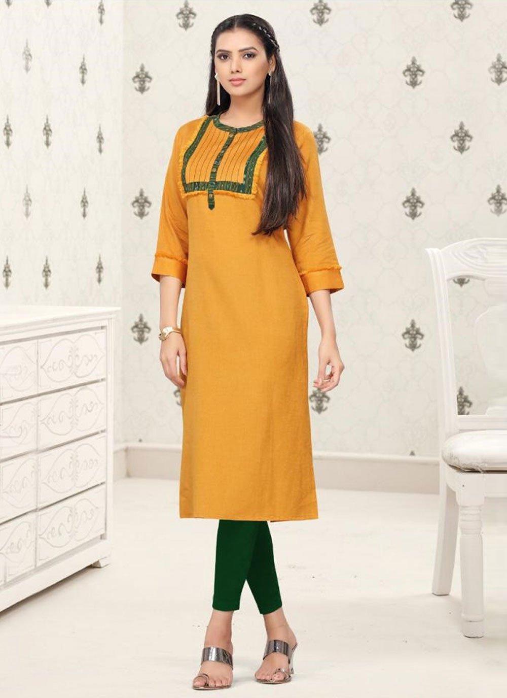 Cotton Thread Work Party Wear Kurti in Mustard