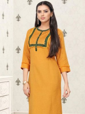 Cotton Thread Work Party Wear Kurti in Mustard