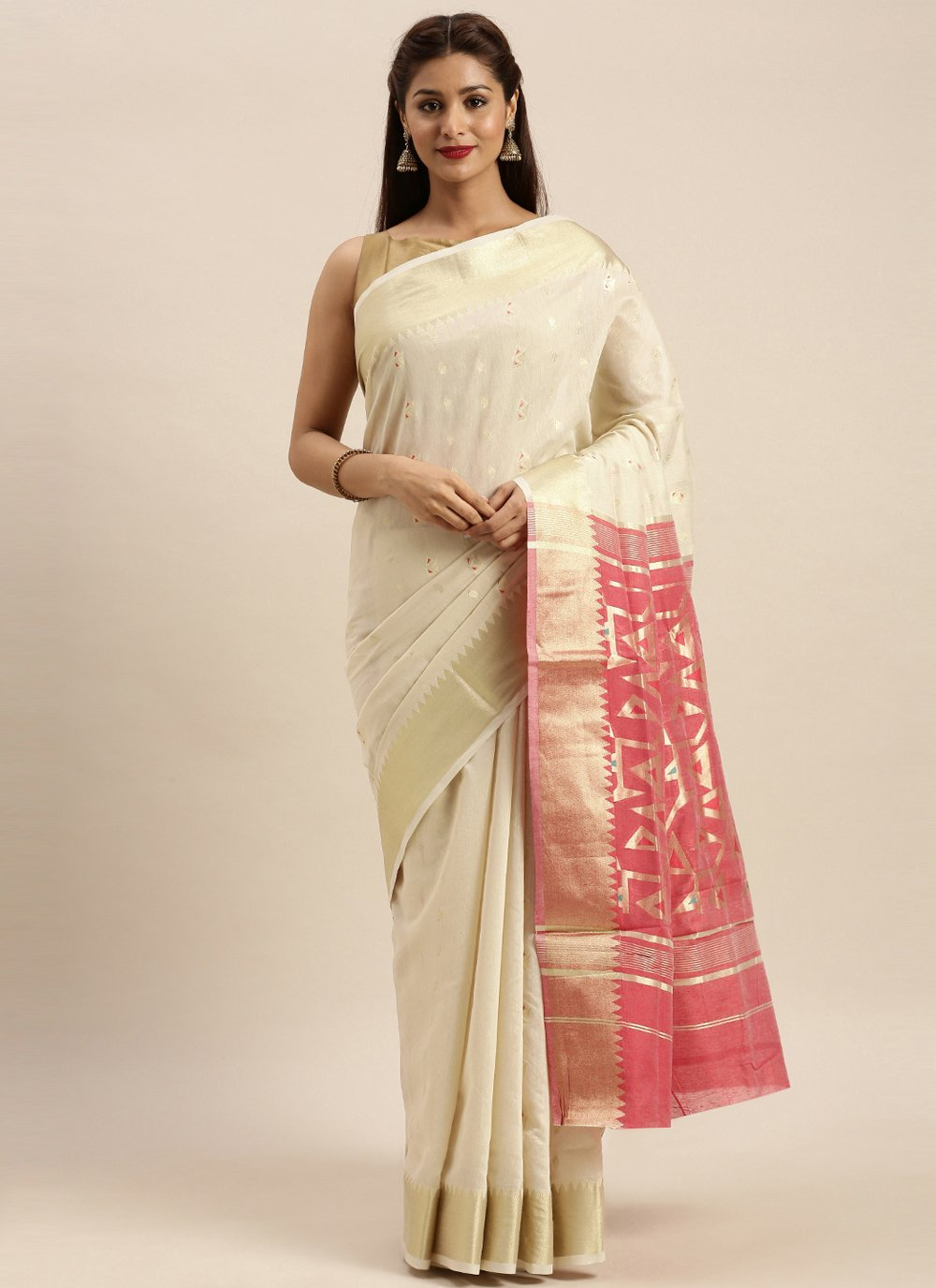 Cotton Traditional Saree in Off White