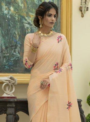 Cotton Trendy Saree in Peach