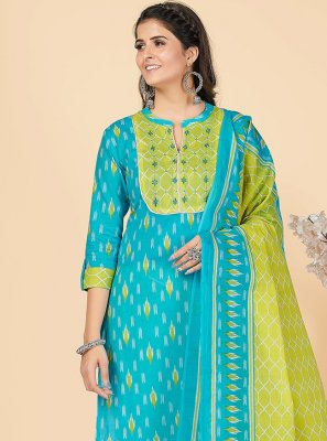 Cotton Turquoise Embroidered Party Wear Kurti
