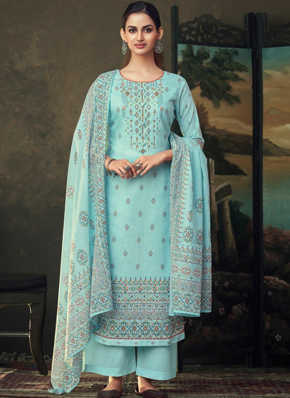 Cotton Turquoise Palazzo Salwar Kameez