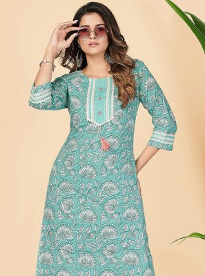 Cotton Turquoise Printed Party Wear Kurti