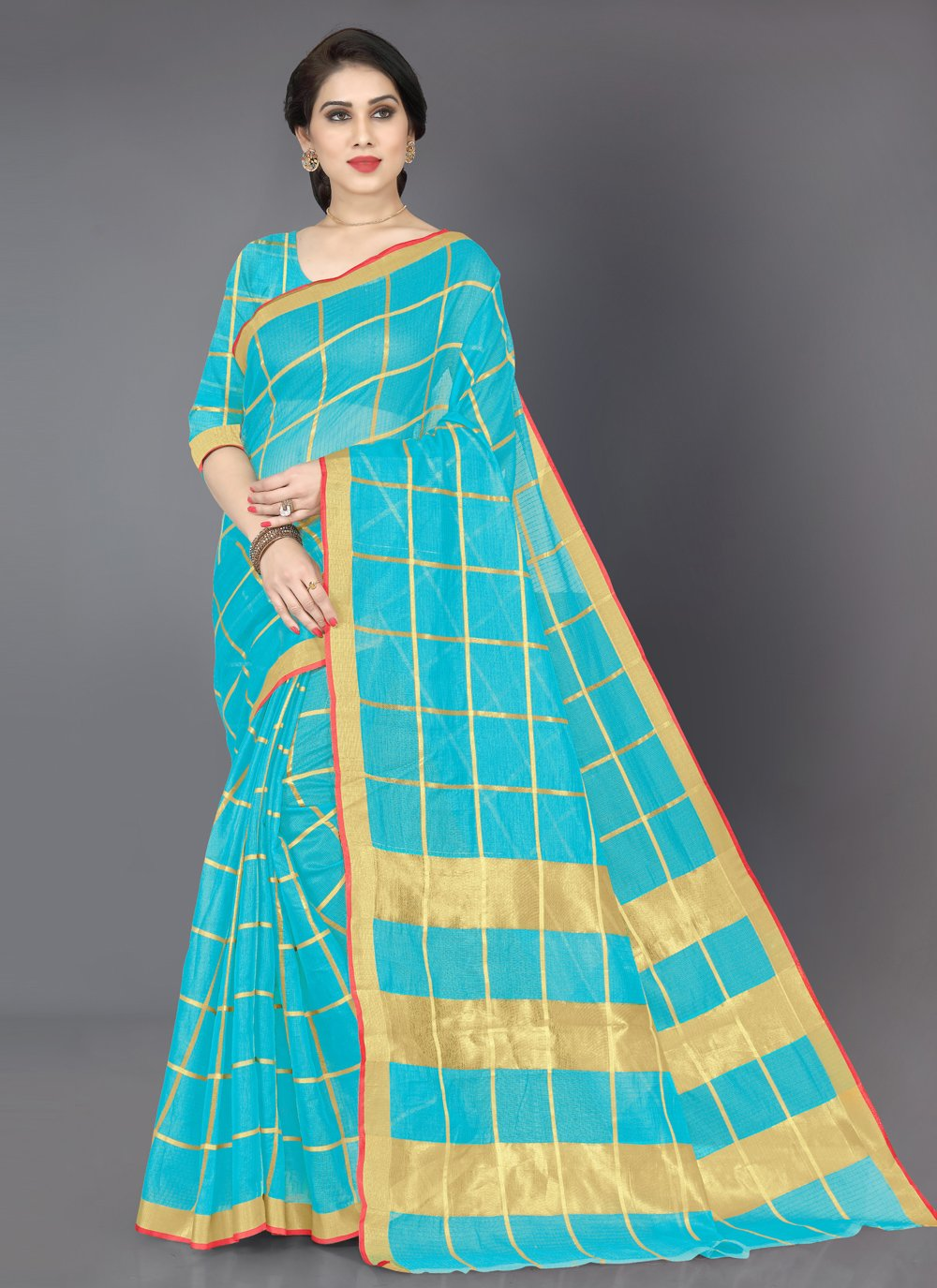 Cotton Weaving Casual Saree in Turquoise