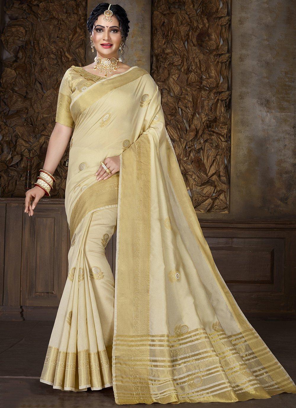 Cotton Weaving Cream Traditional Saree