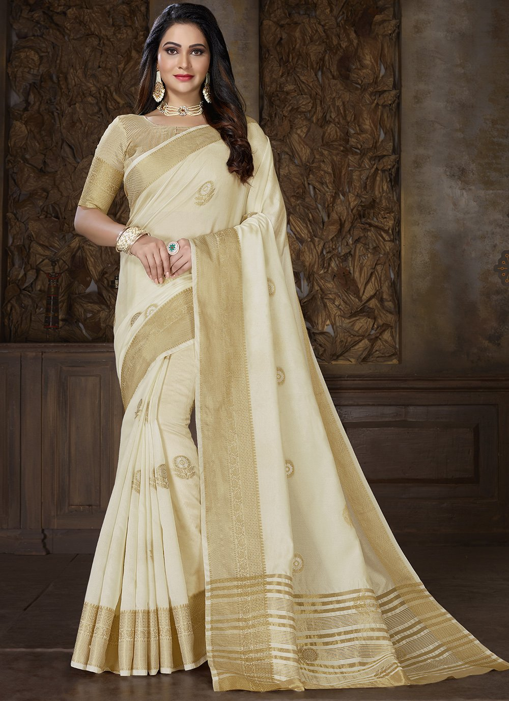 Cotton Weaving Off White Traditional Saree
