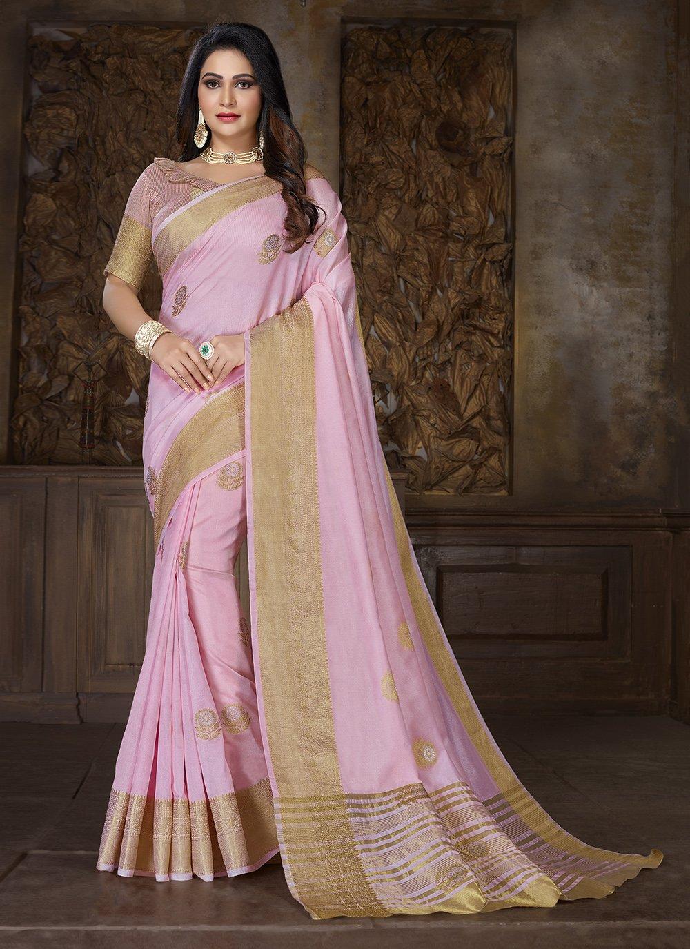 Cotton Weaving Pink Traditional Saree