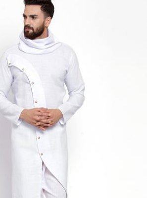 Cotton White Plain Kurta Pyjama