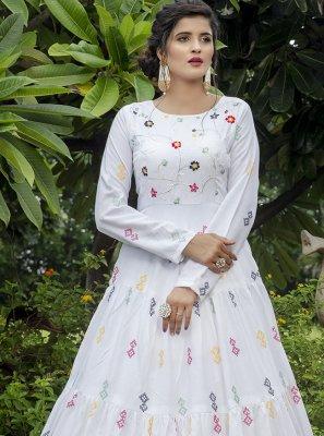 Cotton White Sequins Designer Gown