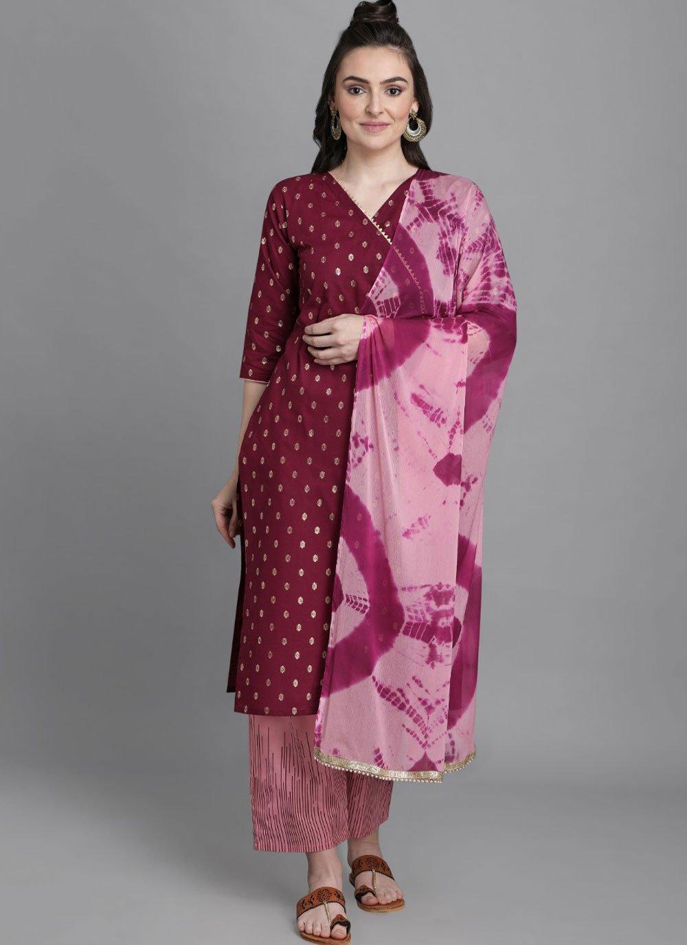 Cotton Wine Foil Print Readymade Suit