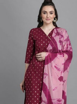 Cotton Wine Foil Print Readymade Suit