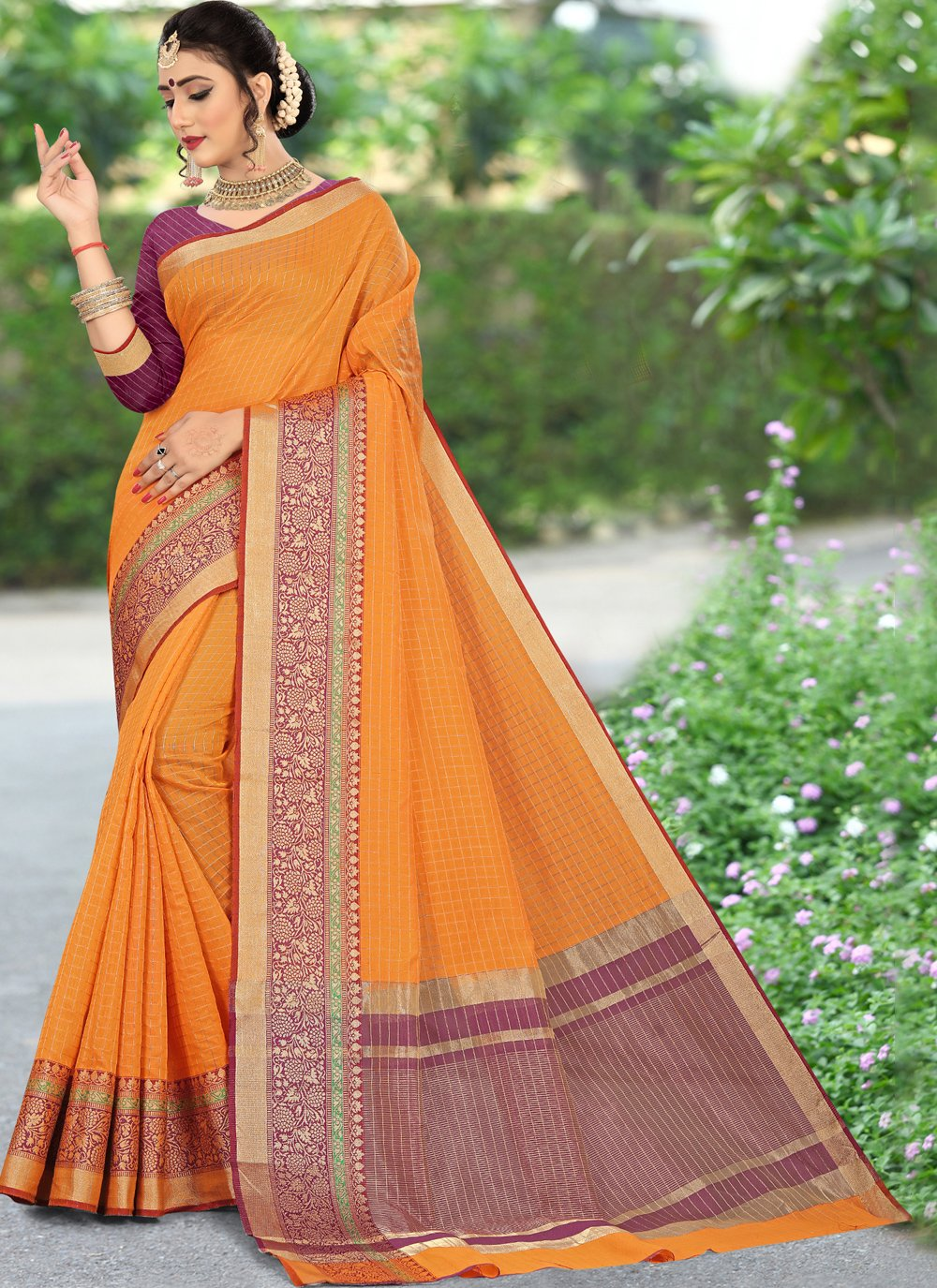 Cotton Woven Saree in Orange