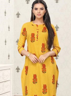 Cotton Yellow Block Print Party Wear Kurti