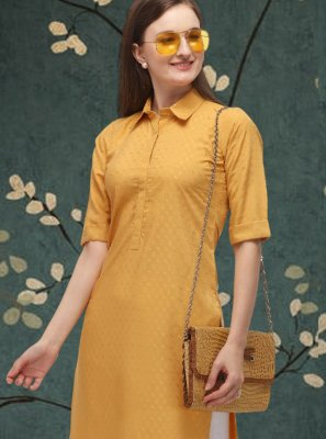 Cotton Yellow Plain Casual Kurti
