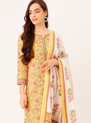 Cotton Yellow Print Readymade Suit