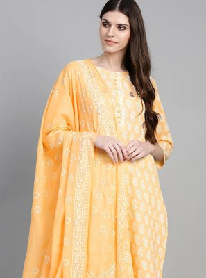 Cotton Yellow Printed Readymade Suit