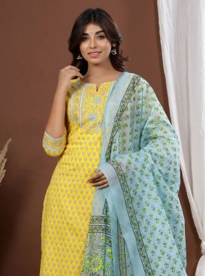 Cotton Yellow Readymade Suit