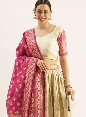 Cream and Gold Mehndi Art Silk Lehenga Choli