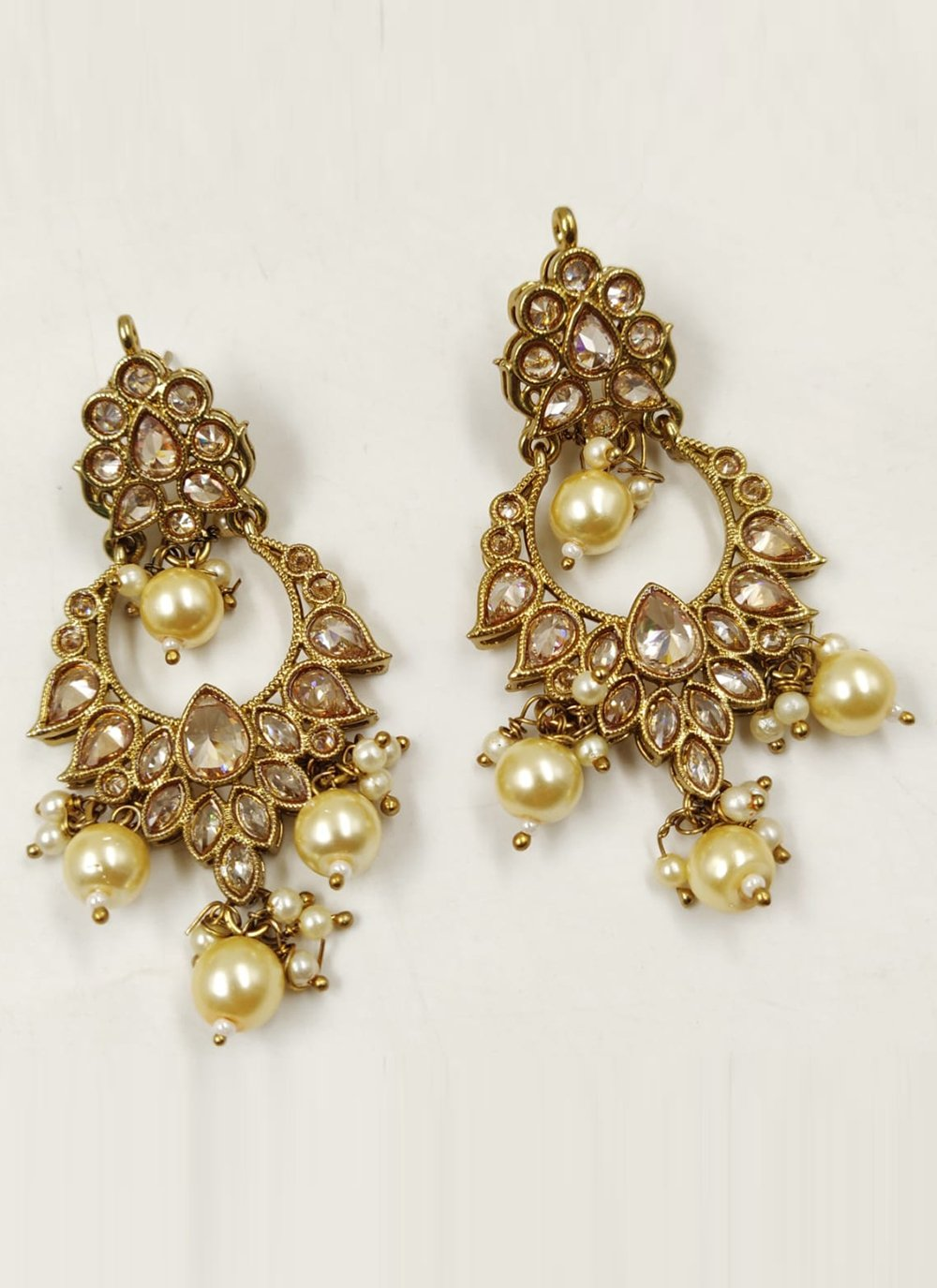 Cream and Gold Moti Ear Rings