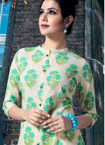Cream and Green Cotton Print Party Wear Kurti