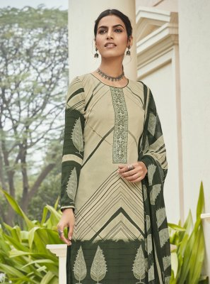 Cream and Green Festival Faux Crepe Designer Palazzo Suit