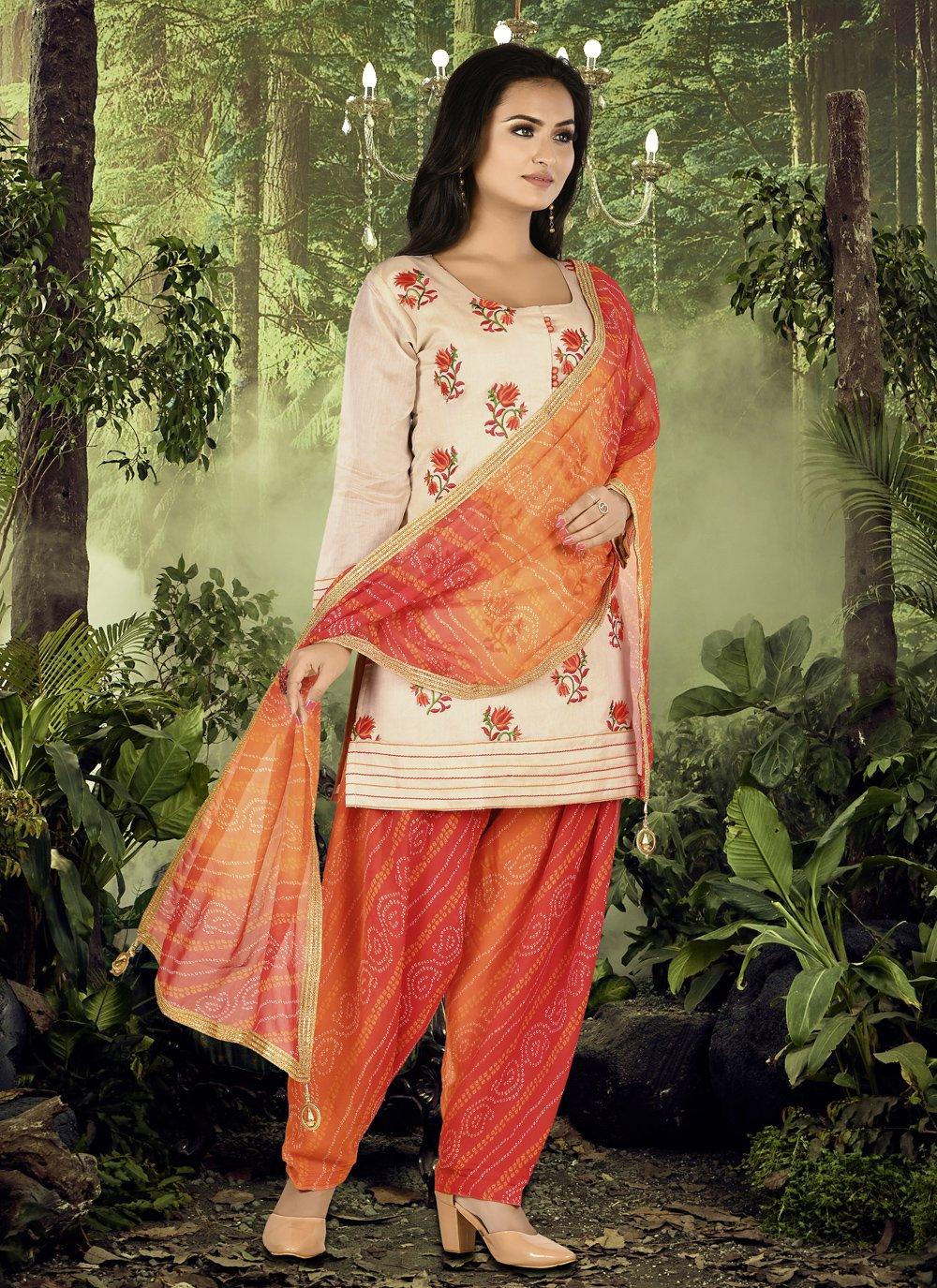 Cream and Orange Festival Chanderi Designer Patiala Suit