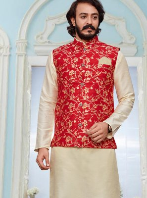 Cream and Red Engagement Art Silk Kurta Payjama With Jacket