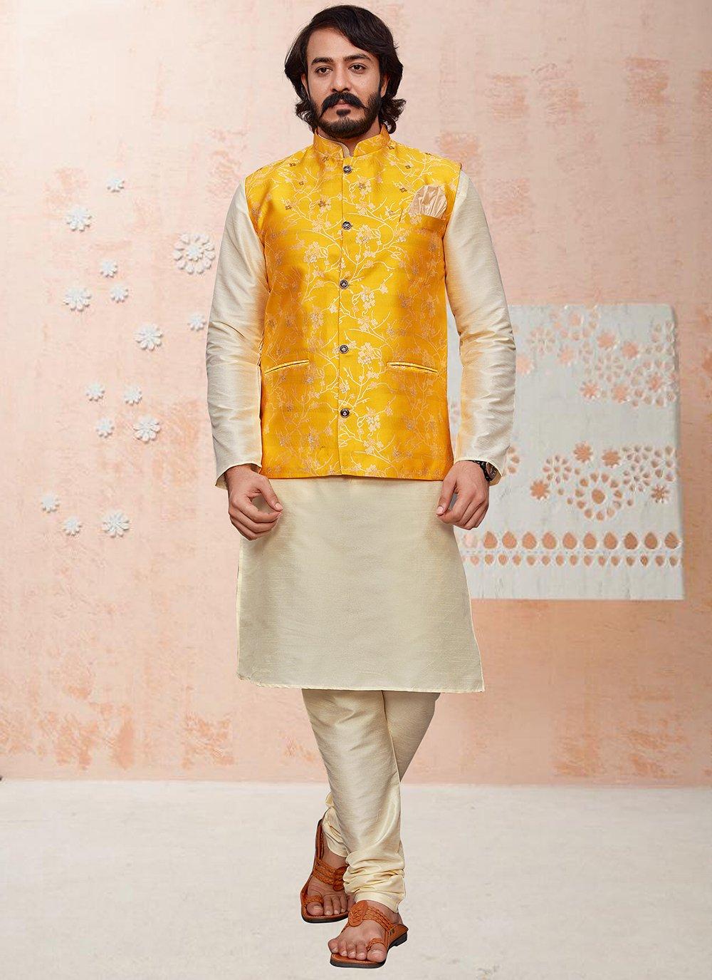 Cream and Yellow Printed Kurta Payjama With Jacket